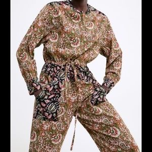 Zara Pants - Zara Combined Printed Jumpsuit Paisley 5107/043